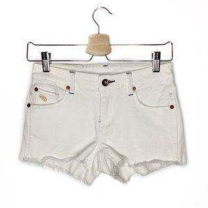 Quiksilver QSD White Frayed Hem Cut Off Shorts